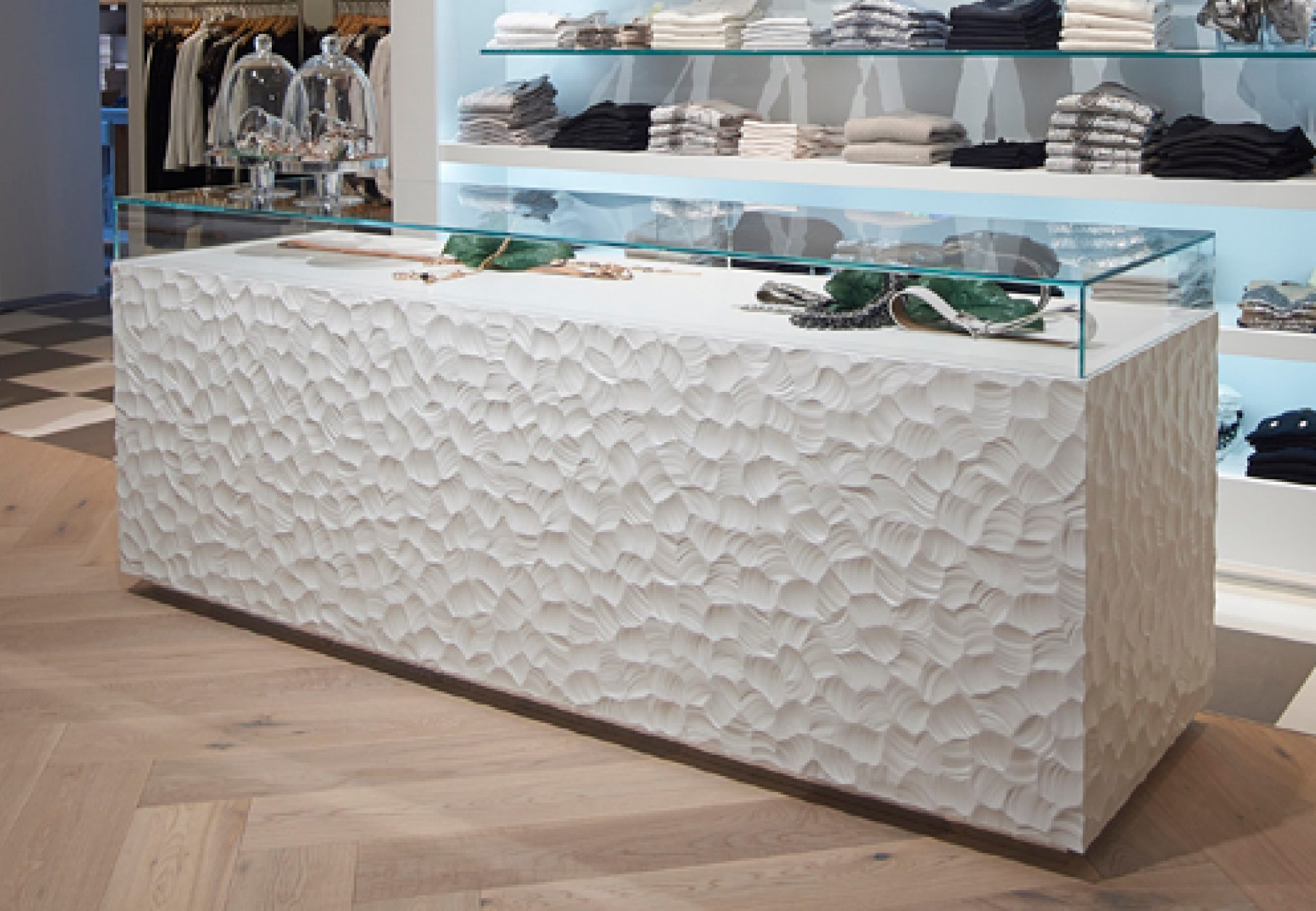 Rocks white Holz in Form Counter